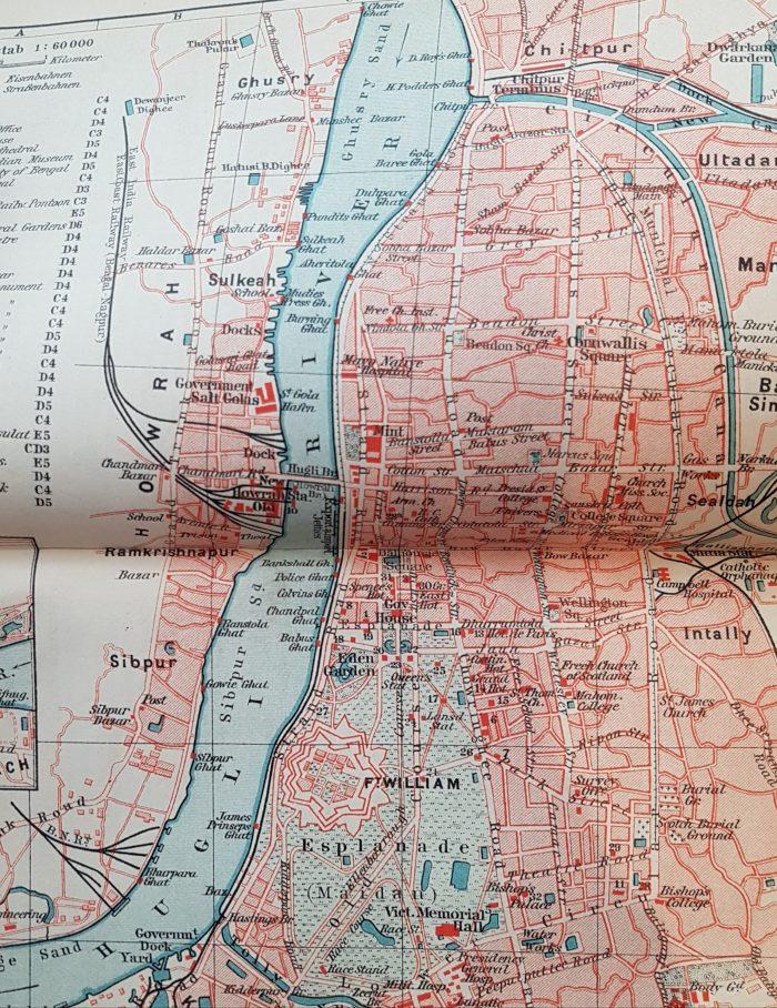 Stadtplan von Calcutta (Meyer 1912, ggü. S. 135)